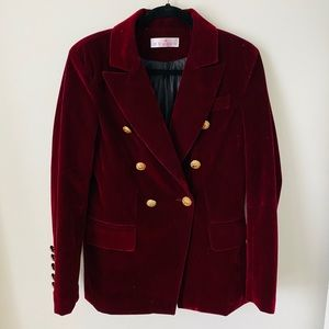 Red Velvet Double Breasted Blazer
